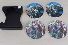 Horse Racing Horses Jockey 4 Coaster Set with Holder Cork Bottom Crute 2000