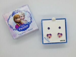 Disney Frozen Anna Elsa Hearts Flowers and Rhinestone Stud Earring Set 2 Pair