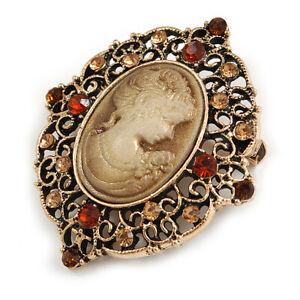 Vintage Inspired Filigree Amber/ Citrine Crystal Oval Beige Cameo Brooch in
