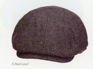 Men Cap Wool Nailhead Tweed 8/4 Newsboy Ivy S M L XL Blk Brn Char MW 278