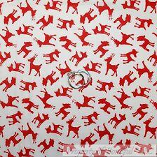 BonEful Fabric Cotton Quilt White Red Baby Reindeer Xmas Small Little Deer SCRAP