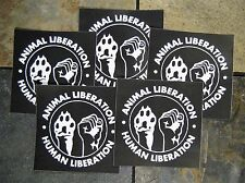 """Lot of 5 4x4"""" Human Animal Liberation Sticker - Anarchy Front Rights Vinyl Earth"""