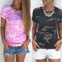 Women Casual Camouflage Short Sleeve T-Shirt Summer Ladies O-Neck Tops Blouses