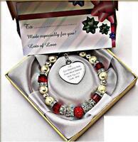 Personalised Engraved Bridesmaid Charm Cube Bead Bracelet Free Card & Gift Bag