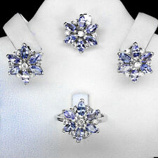Sterling Silver 925 Genuine Tanzanite Floral Pendant Earring & Ring Sz O.5 US7.5
