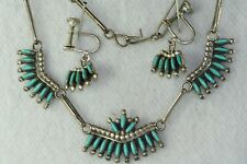 Vg Old Pawn Sterling Silver Turquoise Petite Point Necklace Earrings Set