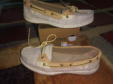 NEW $89 Womens Sperry Angel Fish Crosshatch Linen shoes, size 10
