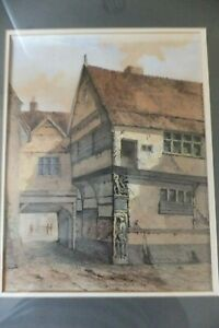 Watercolour by Edward Pococke Old Corner Post which stood in Fore Street Ipswich