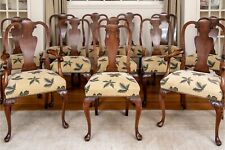 Antique English Queen Anne Walnut And Burl Walnut Dining Chairs—Set of 12