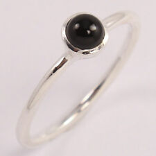 Natural BLACK ONYX Gemstone 925 Sterling Silver Hot Collection Ring Size US 6 FR