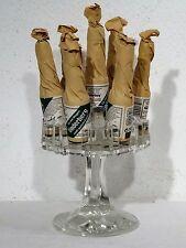 Ältere Werbung Underberg Glas Display stand up mit 7 Flaschen