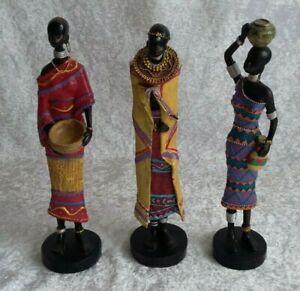 3 Afrikanische Figuren Frauen Massaifrauen Stammesfrauen Dekoration