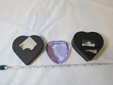 Rosenthal clear Crystal purple heart paperweight Rosen Thal signed with box RARE
