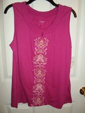 CROFT & BARROW PINK GOLD EMBROIDERED FLORAL KNIT TANK TOP CAMI BLOUSE M L XL NEW