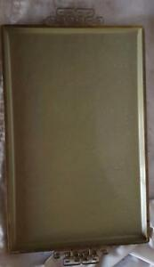 Antique Moire Glazed Kyes Cocktail Tray -Brass Scroll Handles  NICE OLD TRAY VGC