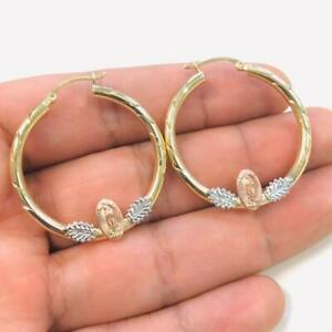 14K Solid Yellow Gold Guadalupe Hoop Earrings for Womens, Arracadas de Guadalupe