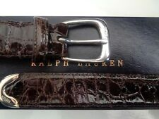 NWT RALPH LAUREN PURPLE LABEL GENUINE ALLIGATOR BELT. STERLING SILVER BUCKLE.