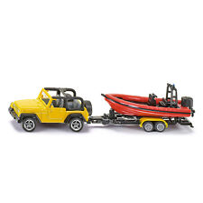 SIKU Spielzeug Modell Jeep Wrangler mit Boot Motorboot Trailer Anhänger / 1658