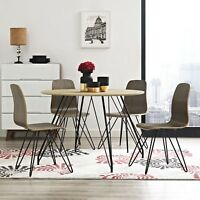 Mid-Century Modern Natural Laminate Round Dining Table With Metal Hairpin Legs