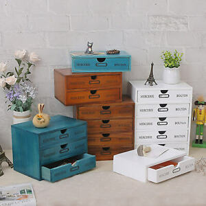 Solid Wooden Storage Box Wood Drawer Jewelry Cosmetics Office Desk Organizer