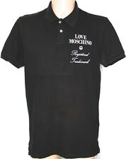 Love Moschino Polo Shirt Mens Spell Out Black S/Sleeve Top XXL 2XL