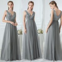 Ever-Pretty Double V-Neck Floral Appliques Evening Prom Dresses Cocktail Gowns