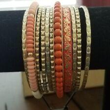 Premier Designs Crush Bangles 11 Bracelet Set 50025 Gold Brass Ivory Coral