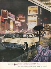 1959 Ford Thunderbird Ad Driving through City at Night Neon Lights NYC?
