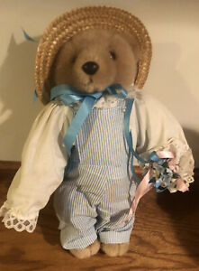 VTG Bearly People Collectible Plush Teddy Stuffed Bear Wearing Overalls & Hat