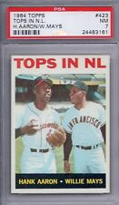 1964 Topps # 423 Tops in NL Hank Aaron Willie Mays NM PSA 7