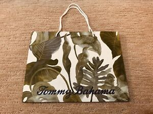 (1) TOMMY BAHAMA Paper Shopping Bag Gift Bag Tote - Tropical Green Leaf - LARGE