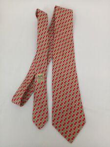HERMÈS tie 100% silk red, blue, beige twist pattern