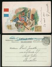 INDOCHINA 1901 PPC STAMP + HORSE + FLAG...USED BELGIUM...VERY FINE
