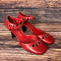 HOKUS POKUS Women's Red Leather Strappy Summer Heels Sandals Shoes Size UK 7