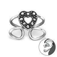 925 Sterling Silver Heart Design Ear Cuff