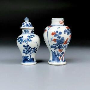2x antique CHINESE KANGXI MINIATURE VASES 18th century BLUE & WHITE porcelain