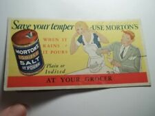 Old Advertising Blotter Save Your Temper Use Mortons Salt At Your Grocer Comic