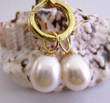 Natural 9X11 MM AAA white south sea pearl earrings 14K GOLD