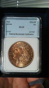 1921 Morgan silver dollar, Beautiful gold toning, NNC graded, see pics