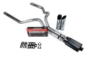 "Chevy GMC 1500 Truck 15-18 3"" Dual Exhaust Kits Flowmaster Super 44 Slash Tip"