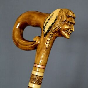 Cane Walking Sticks Wooden Carved - Native American