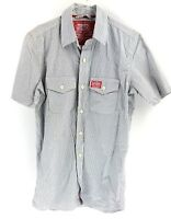 SUPERDRY Mens Shirt Short Sleeve S Small Black White Check Cotton
