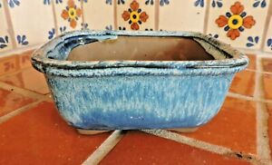 "Yixing 6"" High Quality Blue Glazed Rectangle Bonsai Pot Bonsai Pots"