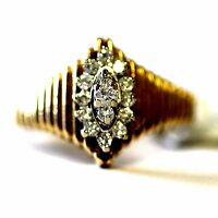 14k yellow gold .26cttw diamond cluster ribbed band ring vintage 4.1g estate