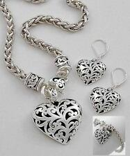 NWT 3 Piece ANTIQUE FILIGREE HEART NECKLACE EARRING BRACELET SET BRIGHTON BAY