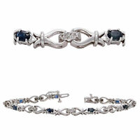 14k White Gold 1.92ctw Blue Sapphire & Diamond Hugs & Kisses Bracelet