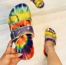 Nicole Miller Women's Sandals Blingle Tie Dye Sz 8 Rhinestone Embellished Straps