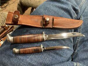 CASE XX 1940-1965 PIGGY BACK SET FIXED BLADE KNIFE USED NICE