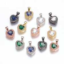 5PCS Brass Heart Charms Pendants with Cubic Zirconia Mixed Color 14x12x5mm