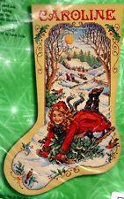 Bucilla Winter Fun Sledding Christmas Girl Snow Cross Stitch Stocking Kit 84287